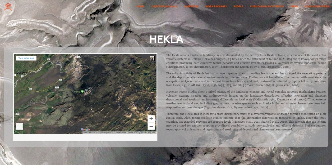 The group placed special emphasis on Hekla and surroundings in the project; as it is one of the most active volcanoes in Iceland.