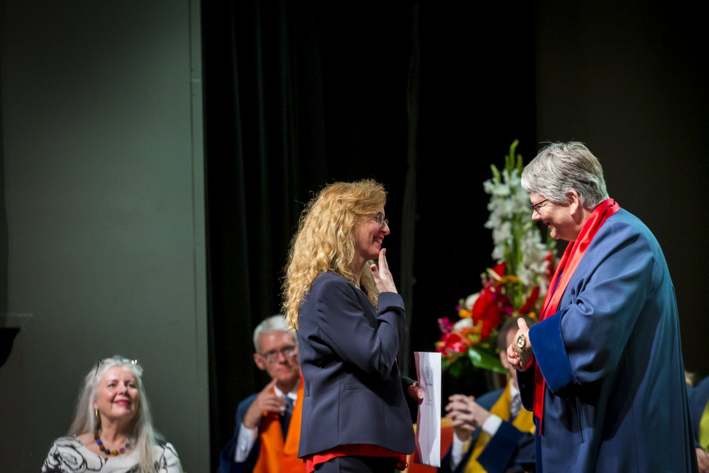Eyrún Ólafsdóttir receiving her diploma from Jónína Vala Krististinsdóttir, Dean of the Faculty of Education and Pedagogy at the Graduation Ceremony 22 June 2019. photo/Kristinn Ingvarsson