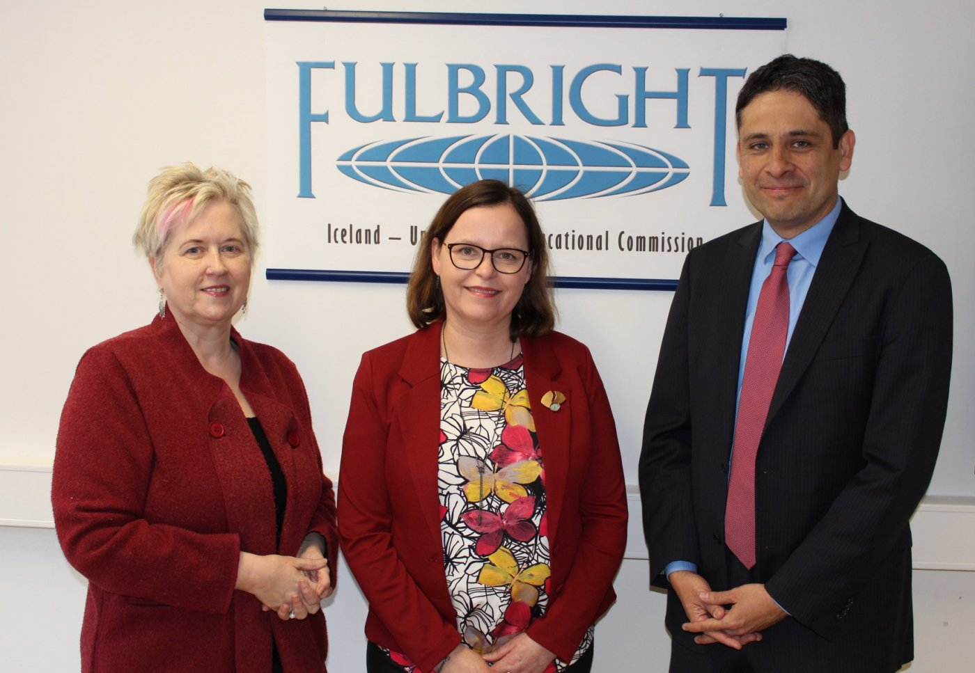 Dr. Lára Jóhannsdóttir (in the middle) with Belinda Theriault, Executive Director of the Icelandic Fulbright Commission, and Oscar Avila from the US embassy.