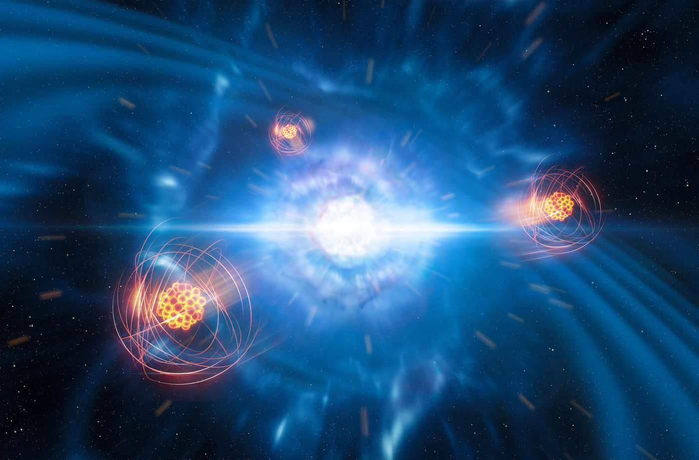 This artists illustration depicts how heavy elements are created and launched from the neutron star merger/kilonova.
