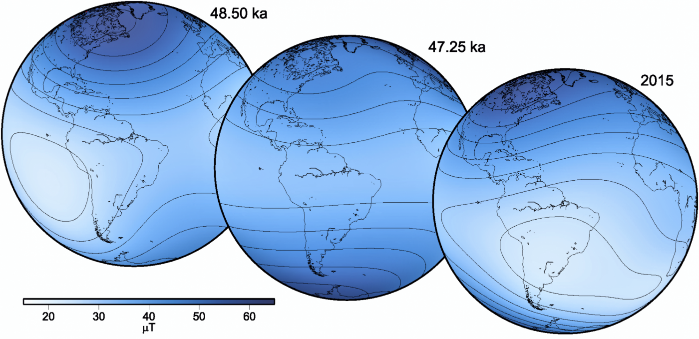 Changes in the magnetic field globally.