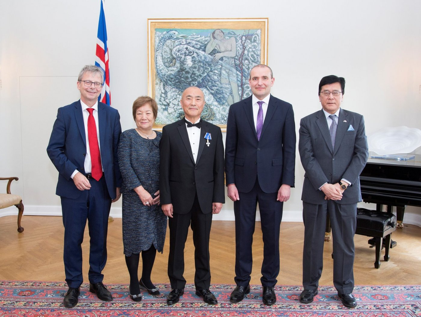 Mr. and Mrs. Watanabe with the President of Iceland, the Rector of the University of Iceland, and the Japanese Ambassador in Iceland. PHOTO/President's Office