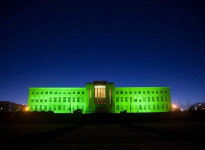 The University Iceland's Main Building in green