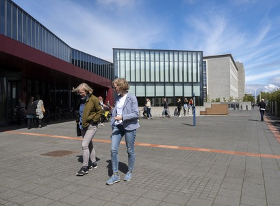 students in front of the University Centre